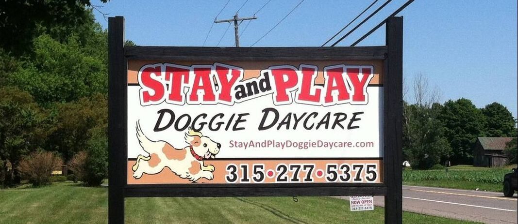 Stay & Play Doggie Day Care - sign and logo